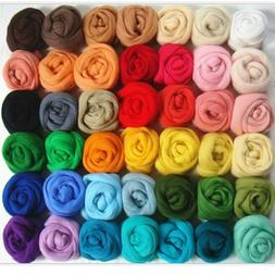 36Colors Wool Yarn Roving Fibre Hand Spinning DIY Craft for