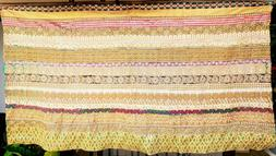 """Large 46""""x 80"""" Needlework Embroidery Wall Hanging Panel Gold"""