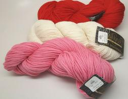 Lot of 3 Assorted Hanks Cascade 220 Worsted  - Xmas Red, Nat