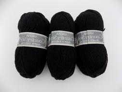 Lot of 3 Black Sirdar Country Style Yarn 522 yards 3-Light A