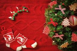 Red Knitted Yarn Xmas Green Pine Tree Photo Backdrop Prop Ph