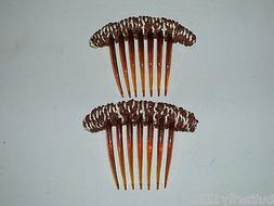 VINTAGE FRENCH HAIR COMB PAIR WITH BROWN YARN