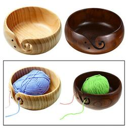 Wooden Yarn Storage Bowl with Drills Holes Knitting Crochet