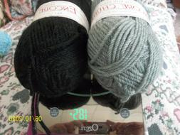 """PLYMOUTH Yarn ~ """"ENCORE CHUNKY """" - COLORS ~ Black & Med. Gre"""